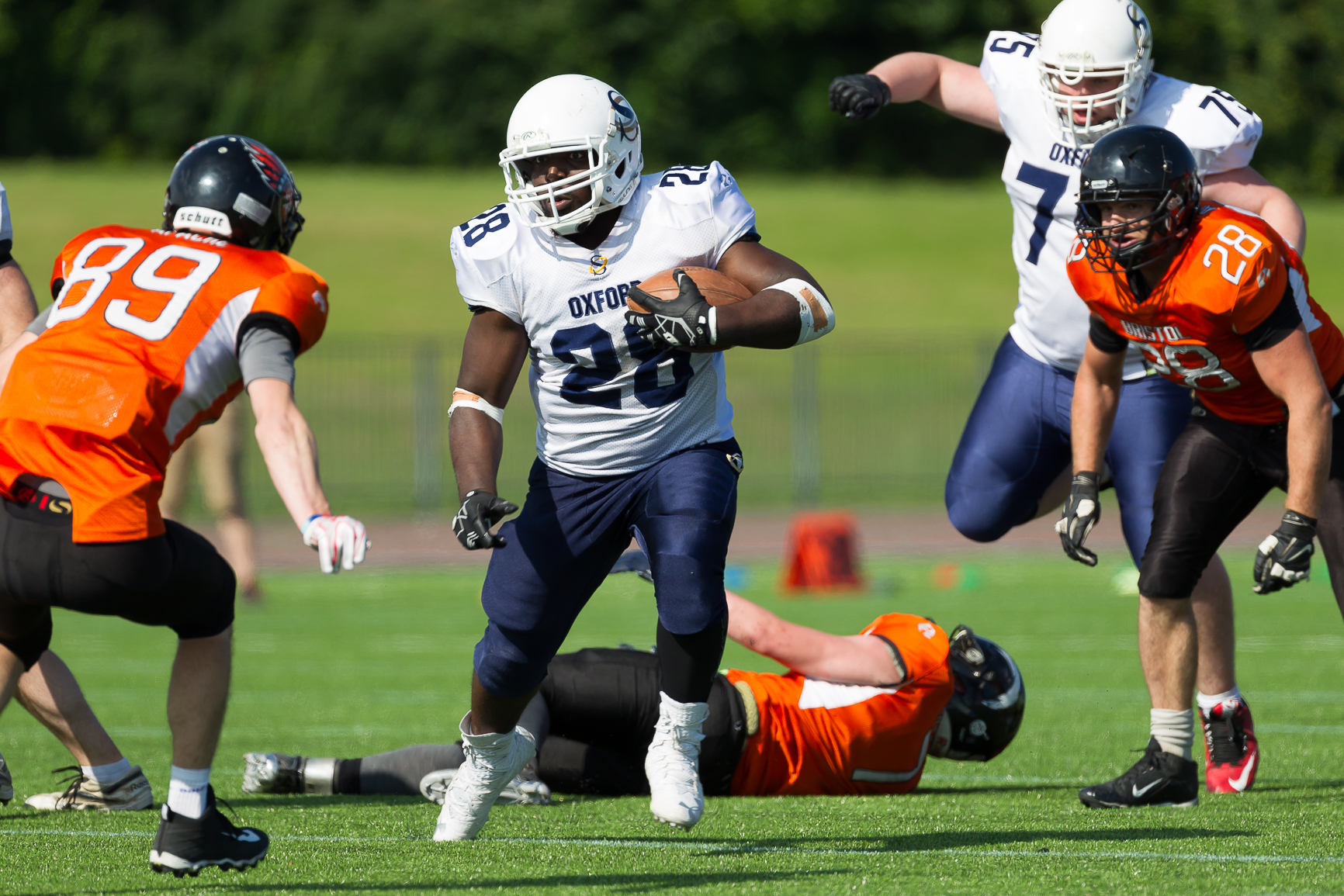 DANGER MAN: Oxford Saints running back Isa Mohammed, who claimed two touchdowns, goes on the attack against Bristol Apache Picture: Gareth Brown