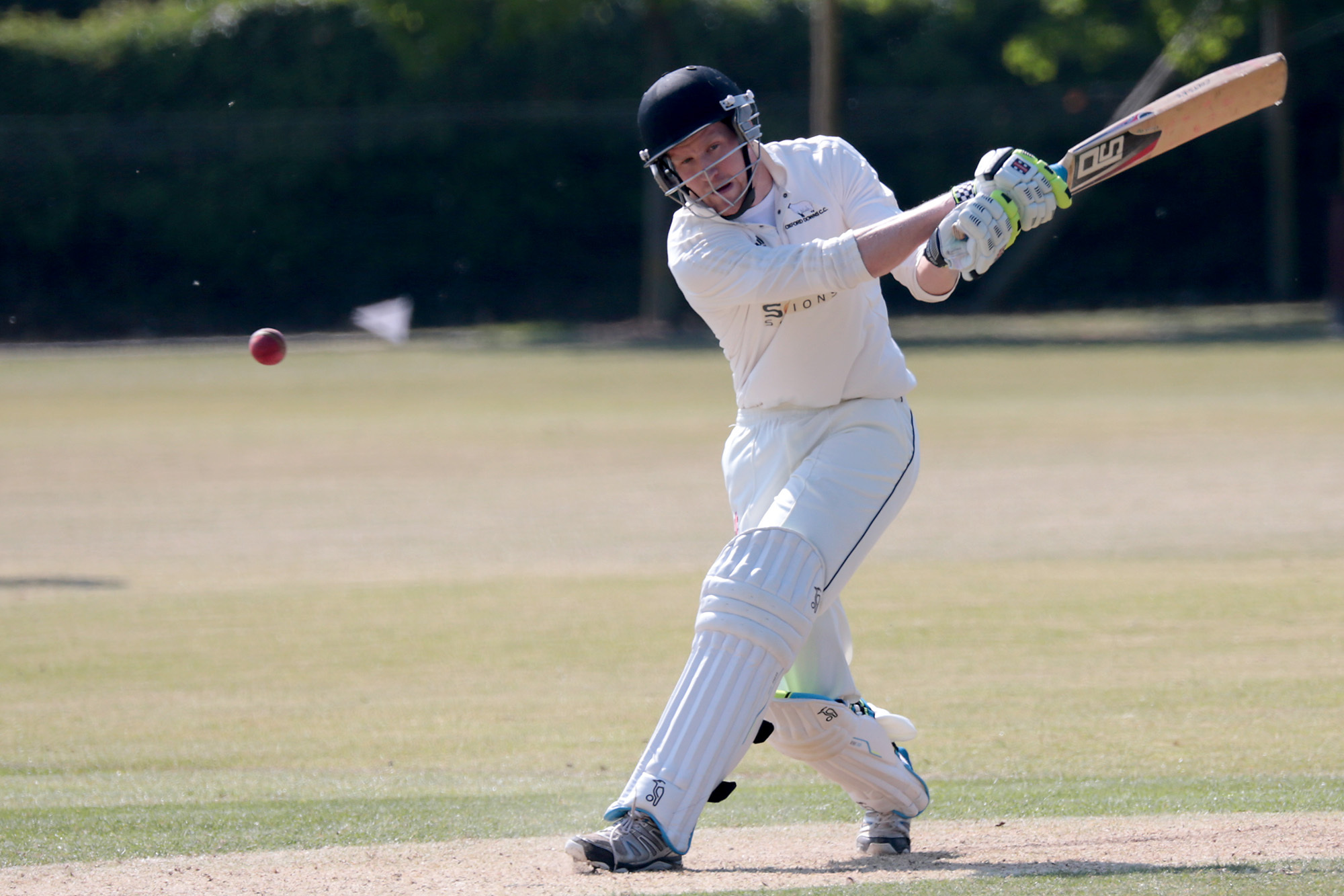 LATE FLOURISH: Harry Sutton blasted 35 off 21 balls but his efforts came too late to save Oxford Downs from defeat against Liphook & Ripsley