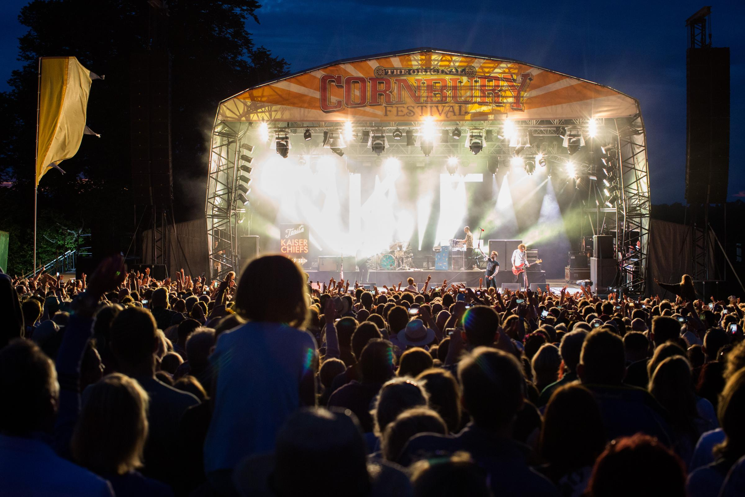 All lit up: The main stage at Cornbury looks spectacular by night                                     Picture: Ben Phillips