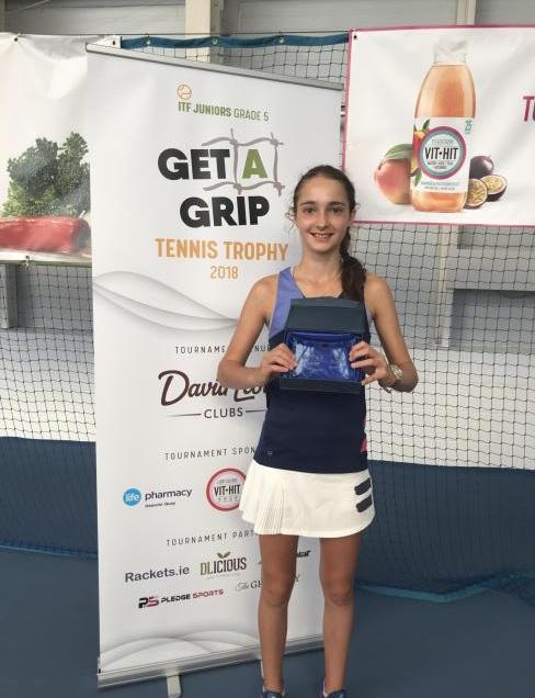 Jasmine Conway with her singles runners-up prize from the Get A Grip Tennis Trophy in Dublin