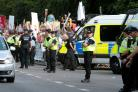 Demonstrators crammed onto the pavements alogside the main road outside Blenheim Palace where Donald Trump was being entertained for dinner.Picture: Ric Mellis.12/7/18.