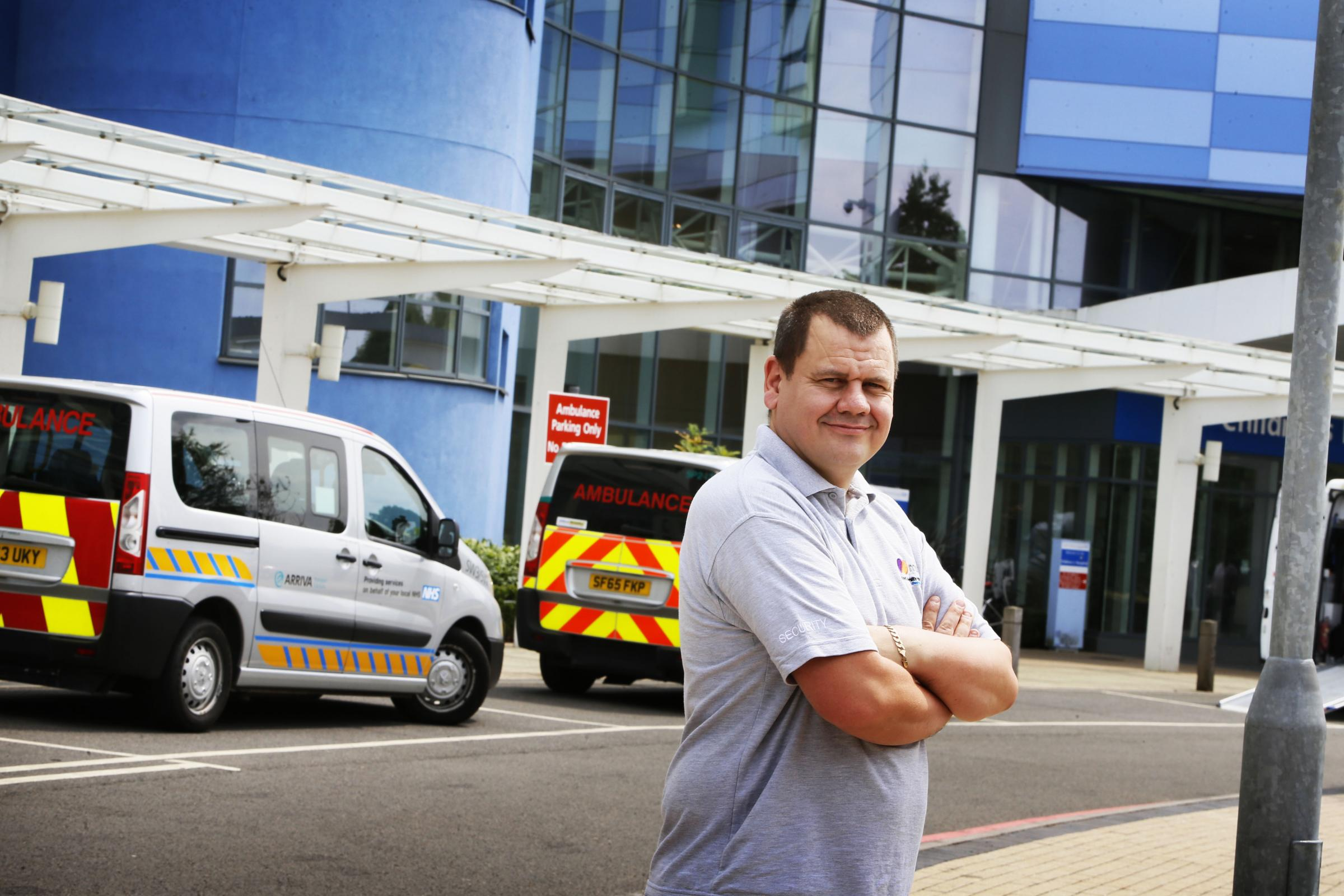 Brave security guard Leigh Shirley has been commended after tackling a patient who was seconds away from setting themself on fire .19.7.2018PICTURE BY ED NIX