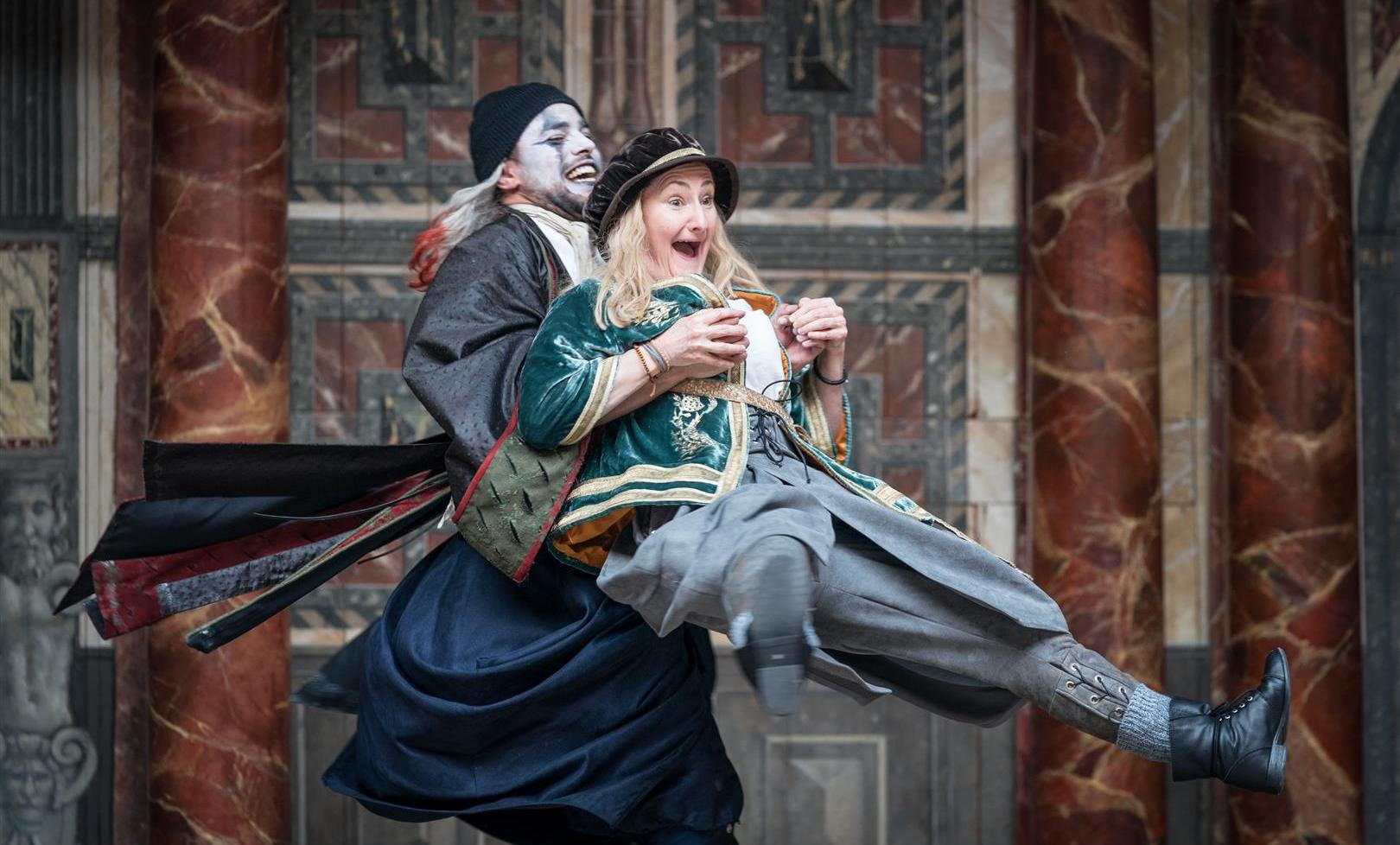 Luke Brady as Feste and Sarah Finigan as Sir Andrew Aguecheek in the lively and entertaining production of Twelfth Night