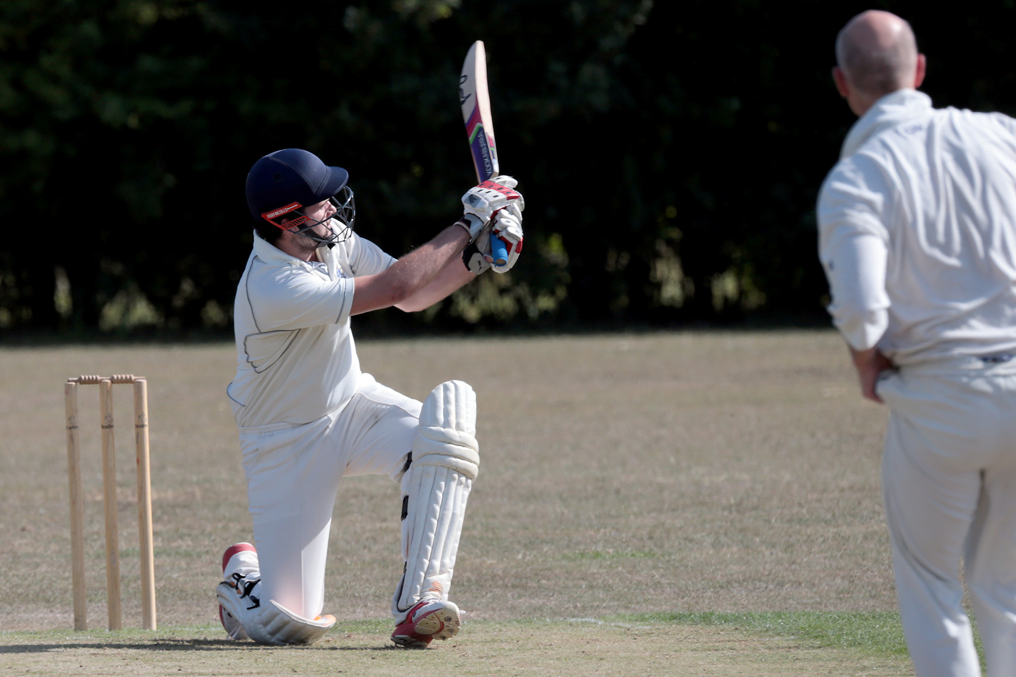 TON-UP: Bampton's Ben Ives hits out on his way to an unbeaten 112 against West Ilsley,   Picture: Ric Mellis