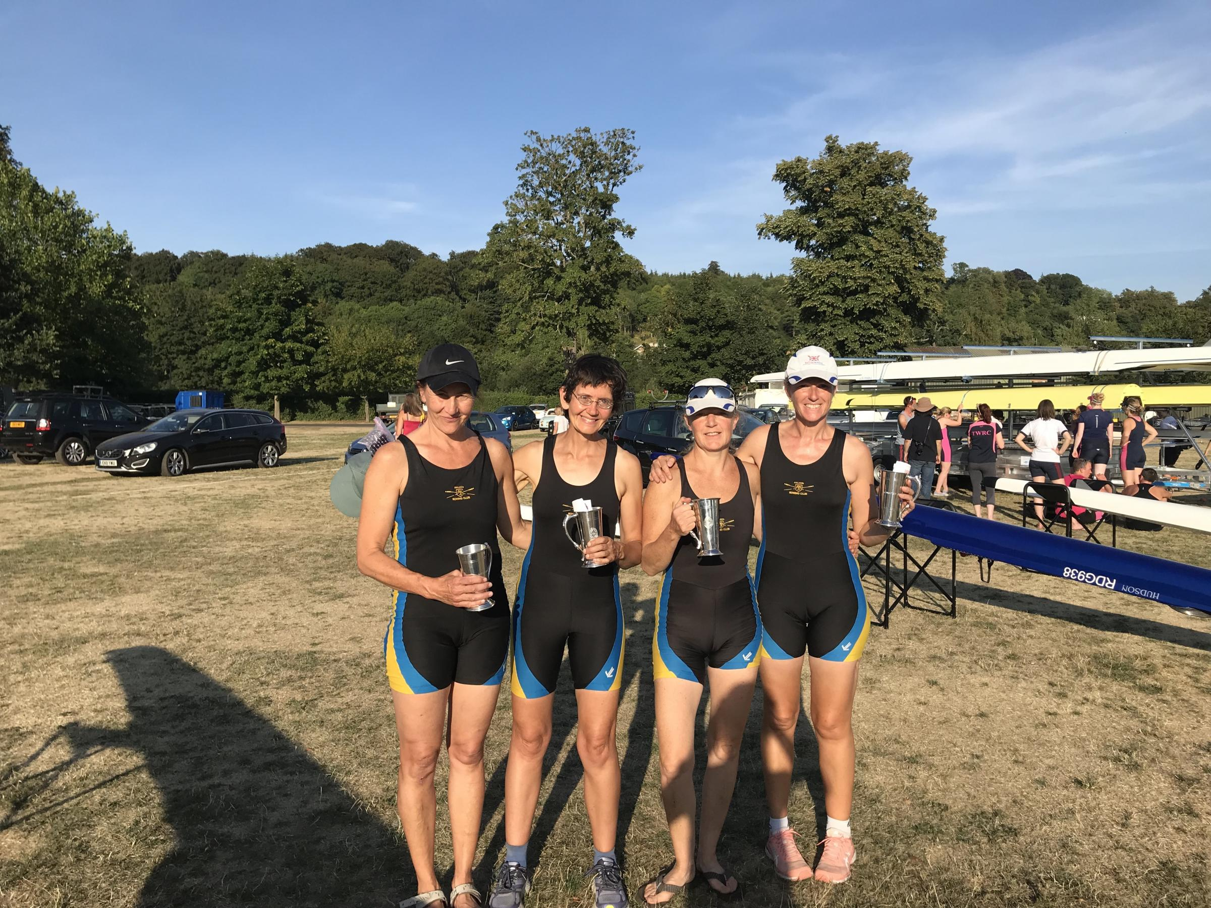 Falcon RC, winners of the Masters D quad at the Henley Town and Visitors Regatta (from left) Susie Smith, Naomi Sharma, Lil Cochrane and Camilla Scarf 		 Picture: Gemma Good