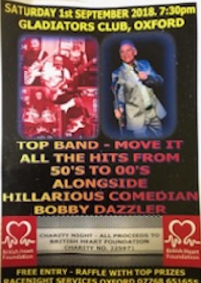 Cabaret Night with Bobby Dazzler TV Comedian & Move It (a 4 Peice Band)