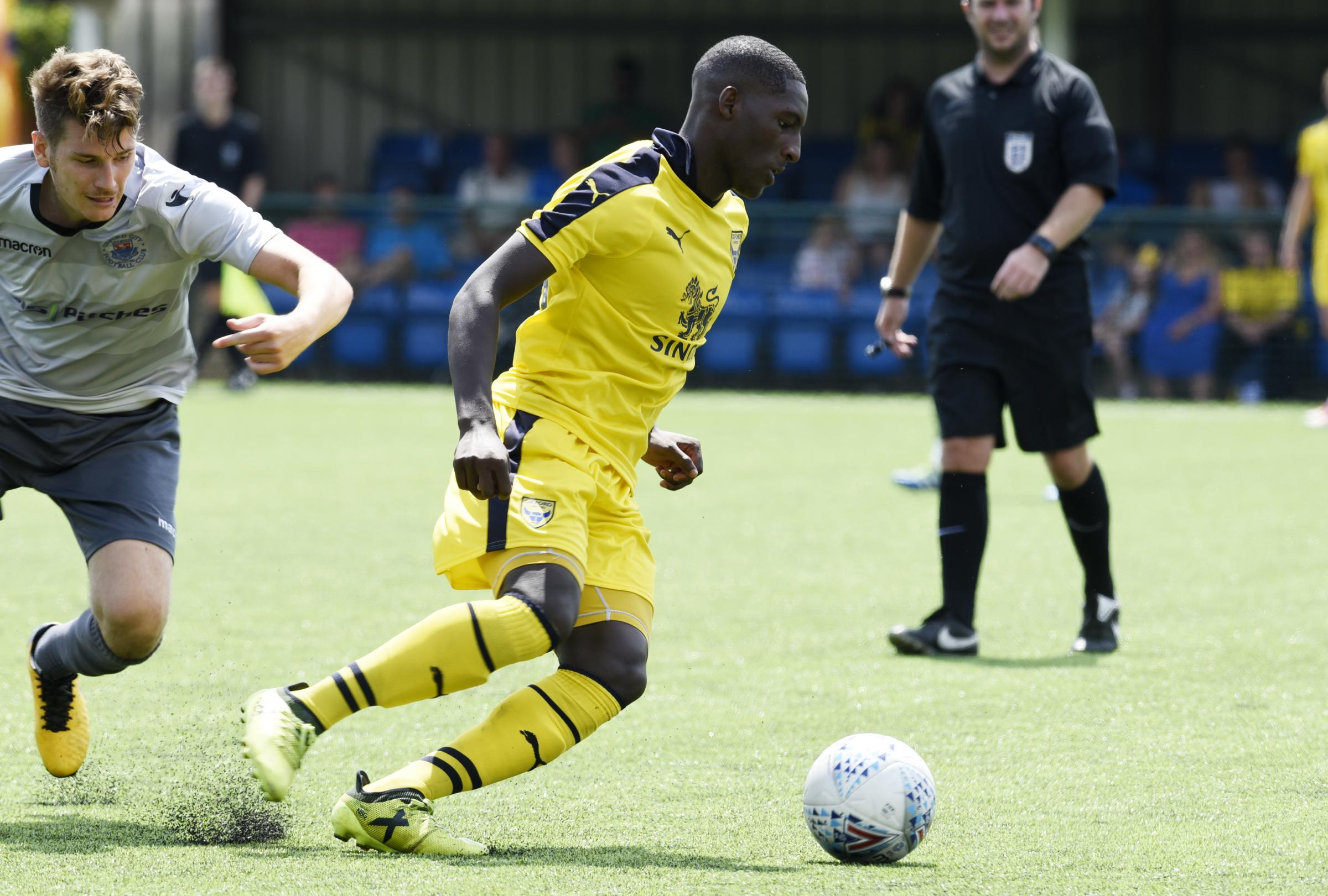 STANDING OUT: Shandon Baptiste in action against Oxford City during his impressive pre-season for Oxford United		  Picture: David Fleming