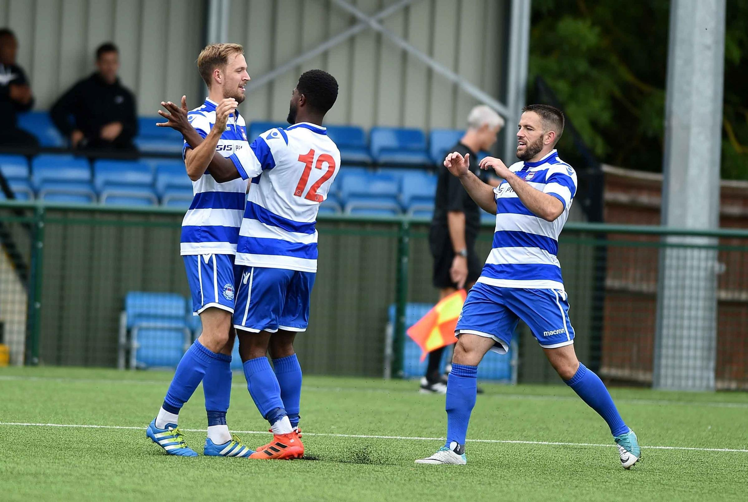 City vs St Albans: City goal #2 as Reece Fleet congratulated by Kyran Wiltshire and Eddie Jones