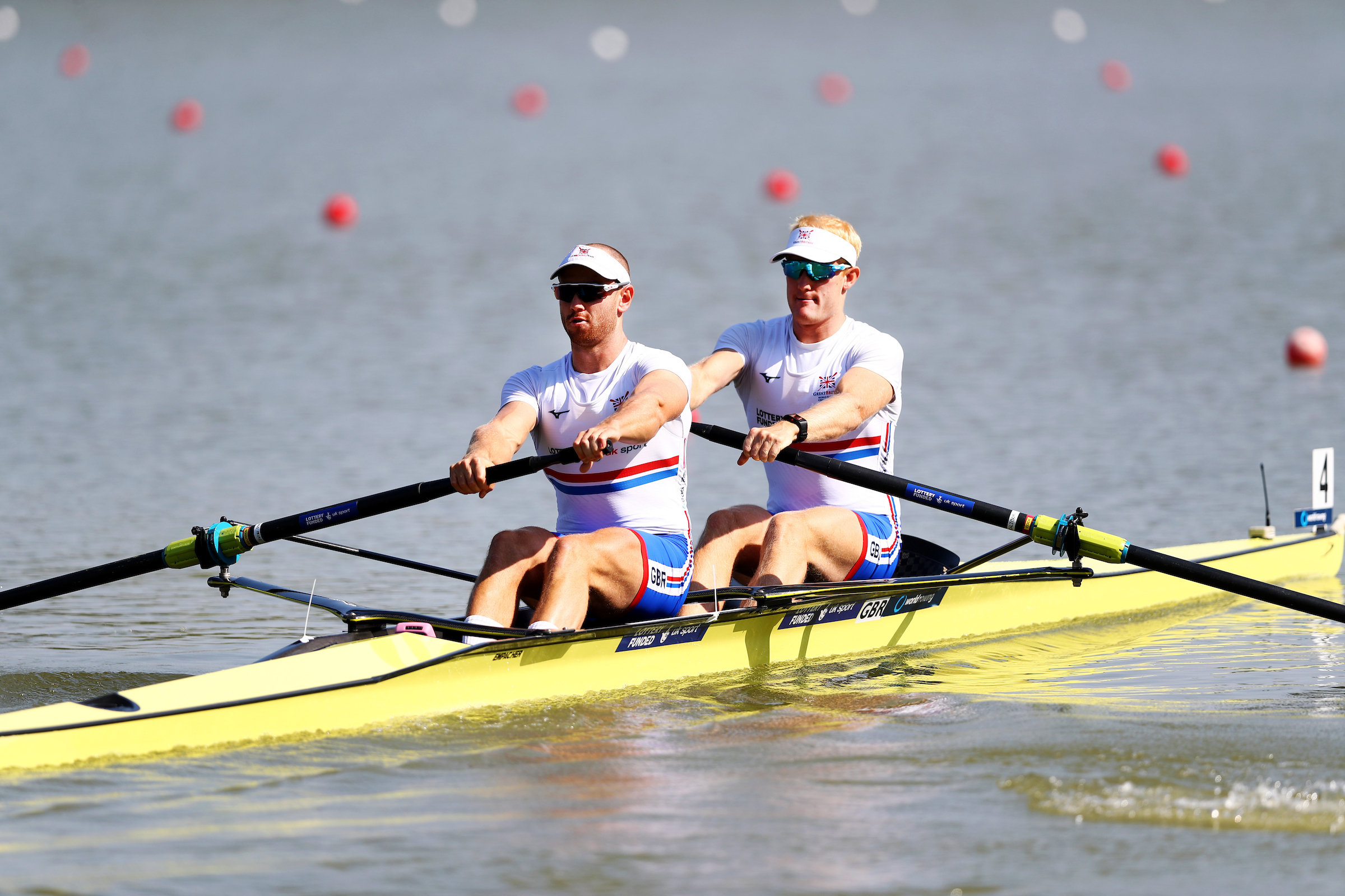 Abingdon's Matt Rossiter (left) and Ollie Cook at the start of their heat in the World Championships Picture: Naomi Baker