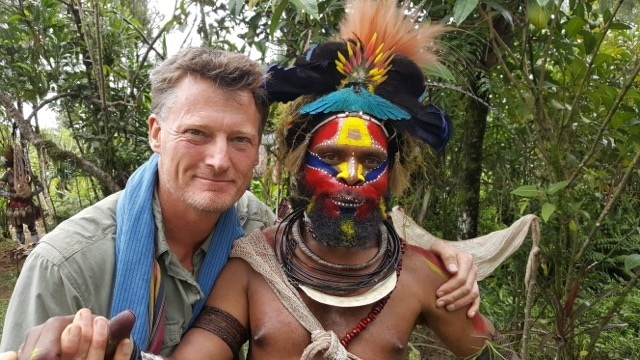 Intrepid explorer Benedict Allen pictured with his friend Howard, who was from the Hewa people of  Papua New Guinea