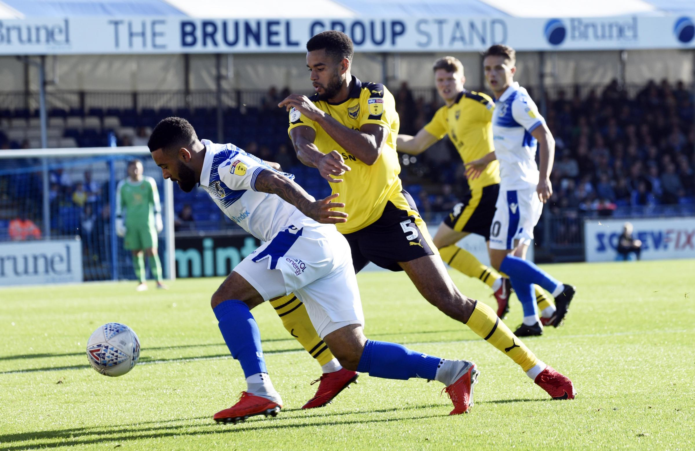 Curtis Nelson puts the pressure on in the first half against Bristol Rovers  Picture: David Fleming