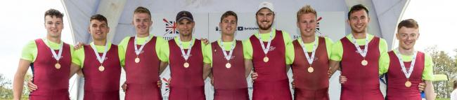 Oxford Brookes' successful eight at the British Championships  Picture: Angus Thomas WeRow.co.uk
