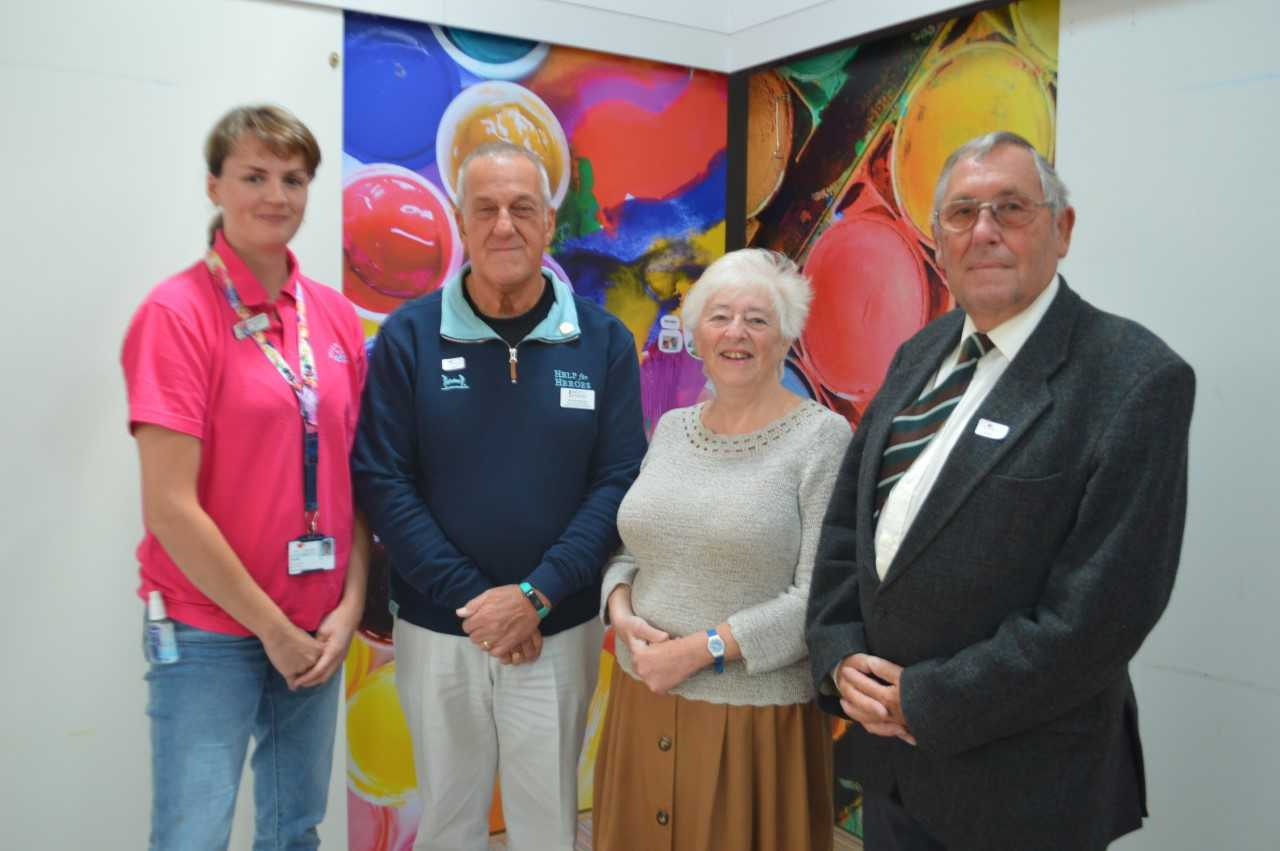 L-R Sabine Schwaebisch from Helen & Douglas House, Ken Woodhouse from Help the Heroes, and Carole and Alan Lester