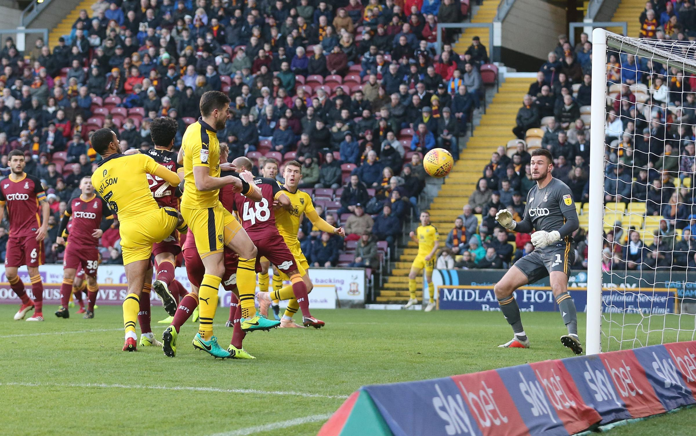 Curtis Nelson heads wide during Oxford United's 2-0 defeat at Bradford City in November Picture: Richard Parkes