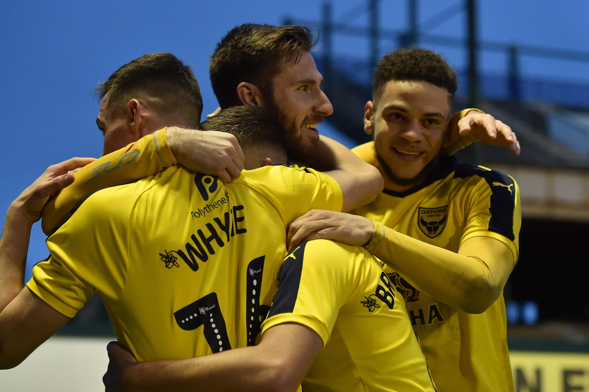 James Henry celebrates his opener for Oxford United against Plymouth Arygle Picture: Sean Hernon/PPAUK