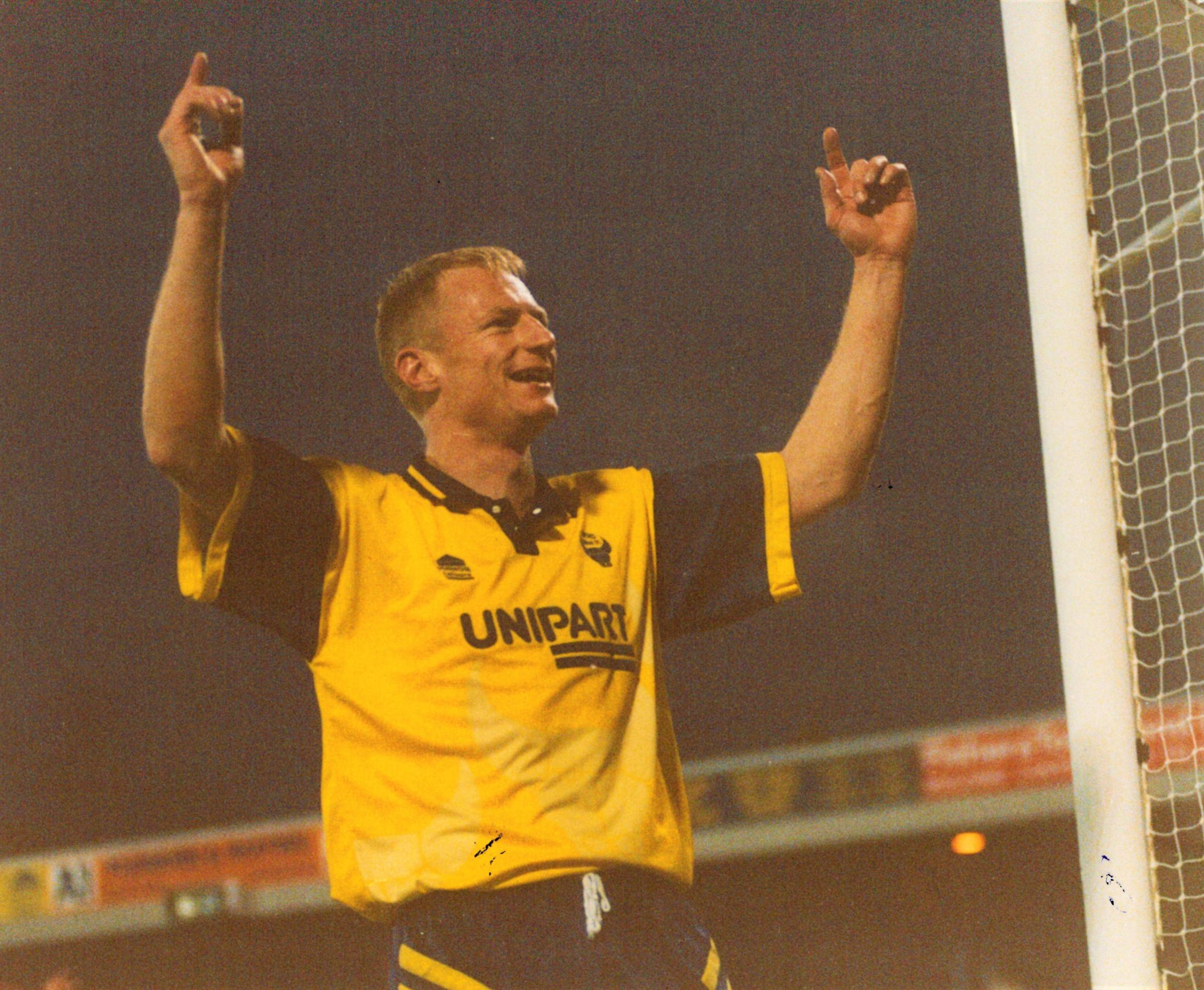 Paul Moody celebrates his hat-trick against Swansea Picture: John Gaisford