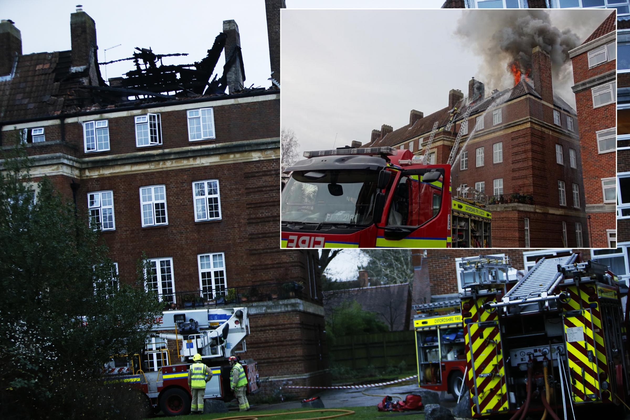 Aftermath of fire at Woodstock Close in North Oxford. Picture by Ed Nix. INSET: Fire photo by Tony Keenan