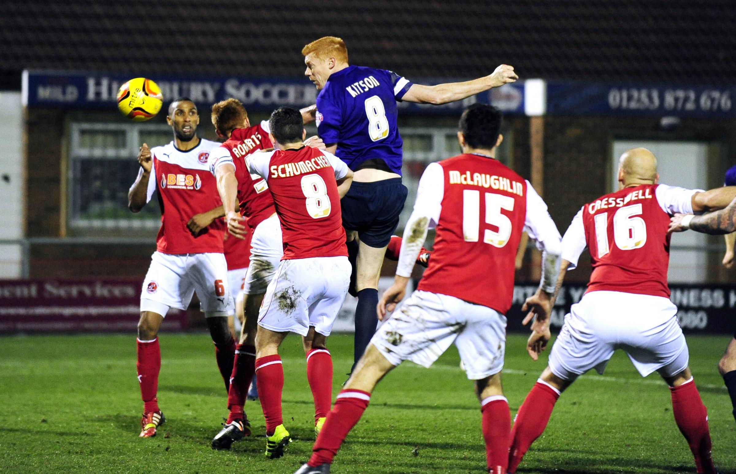 Dave Kitson heads in Oxford United's equaliser in 2013 - the only time Fleetwood Town have failed to beat the U's in nine meetings  Picture: David Fleming