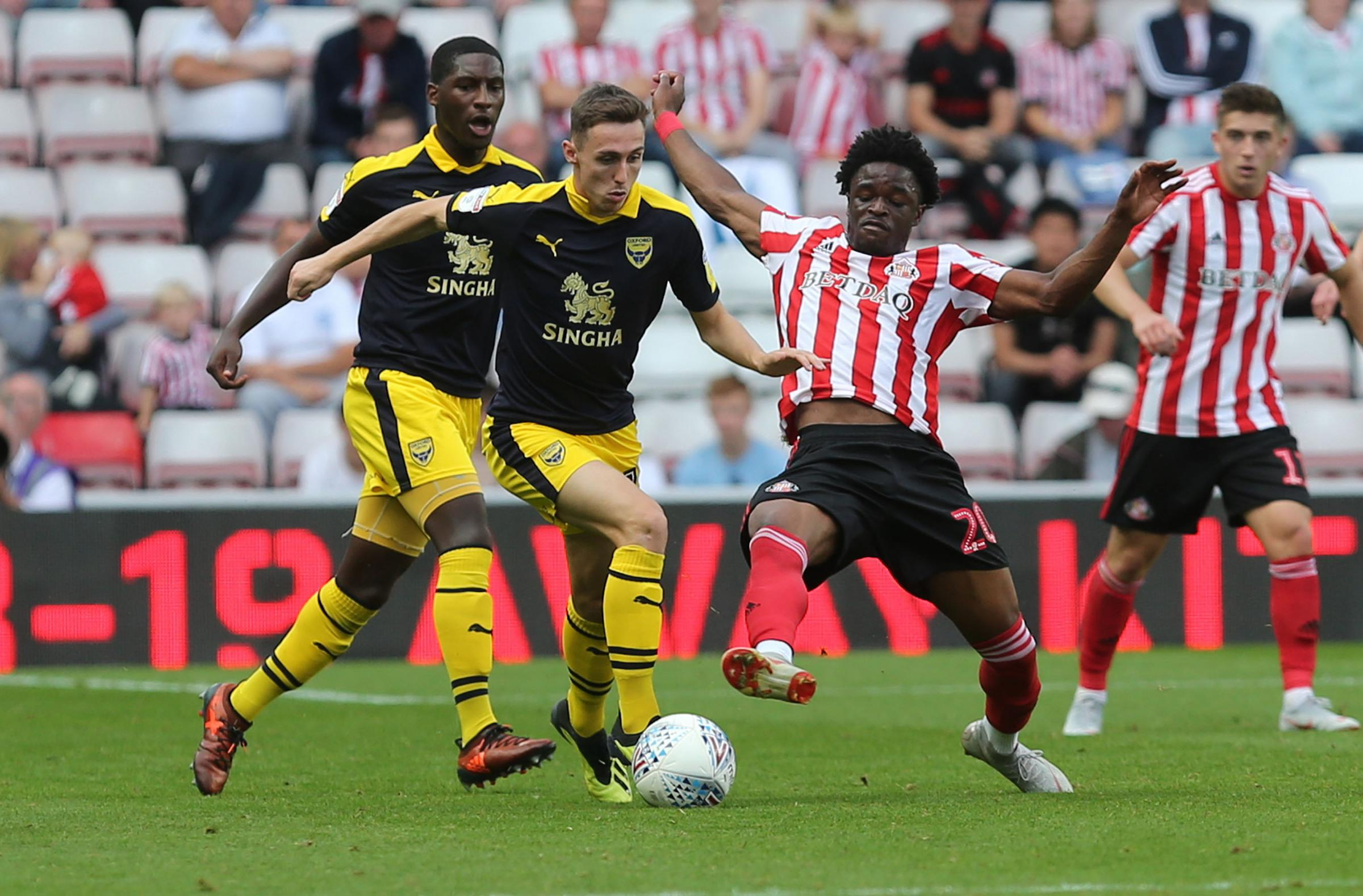 Gavin Whyte on the attack for Oxford United at Sunderland last September  Picture: Richard Parkes