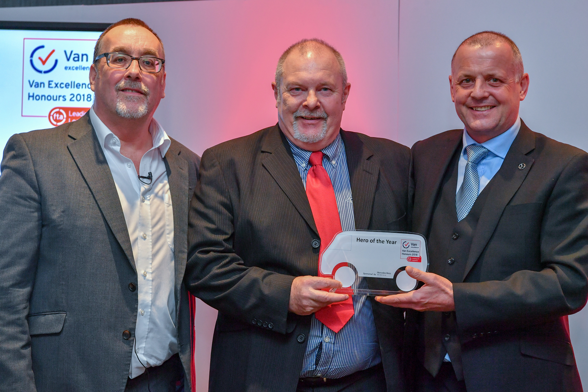 Award winner John Barter with Mark Cartwright, FTA's Head of Vans and Light Commercial Vehicles (left) and Andy Eccles, Head of Fleet at Mercedes-Benz Vans (right).