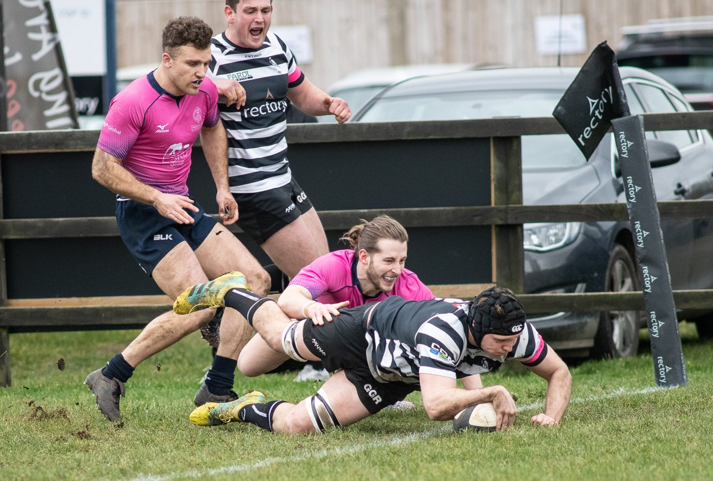 Ben Manning crosses for Chinnor's second try against Darlington Mowden Park Picture: David Howlett