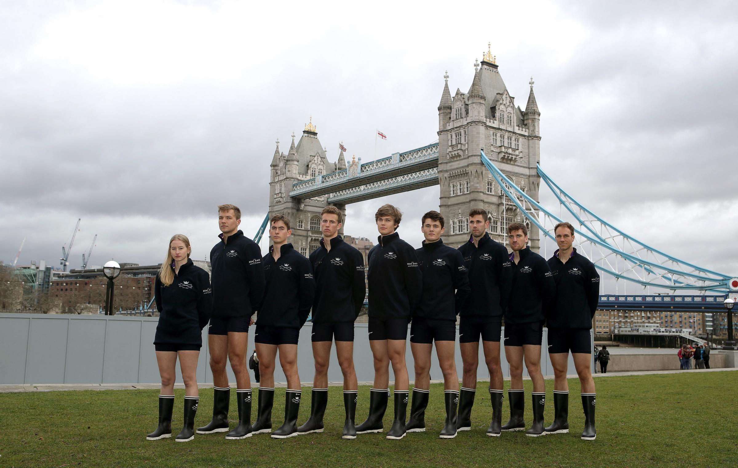 Oxford University's crew for next month's Boat Race. From left: Anna Carbery, Augustin Wambersie, Charlie Pearson, Felix Drinkall, Tobias Schroder, Benedict Aldous, Patrick Sullivan, Ben Landis and Achim Harzheim Picture: John Walton/PA Wire