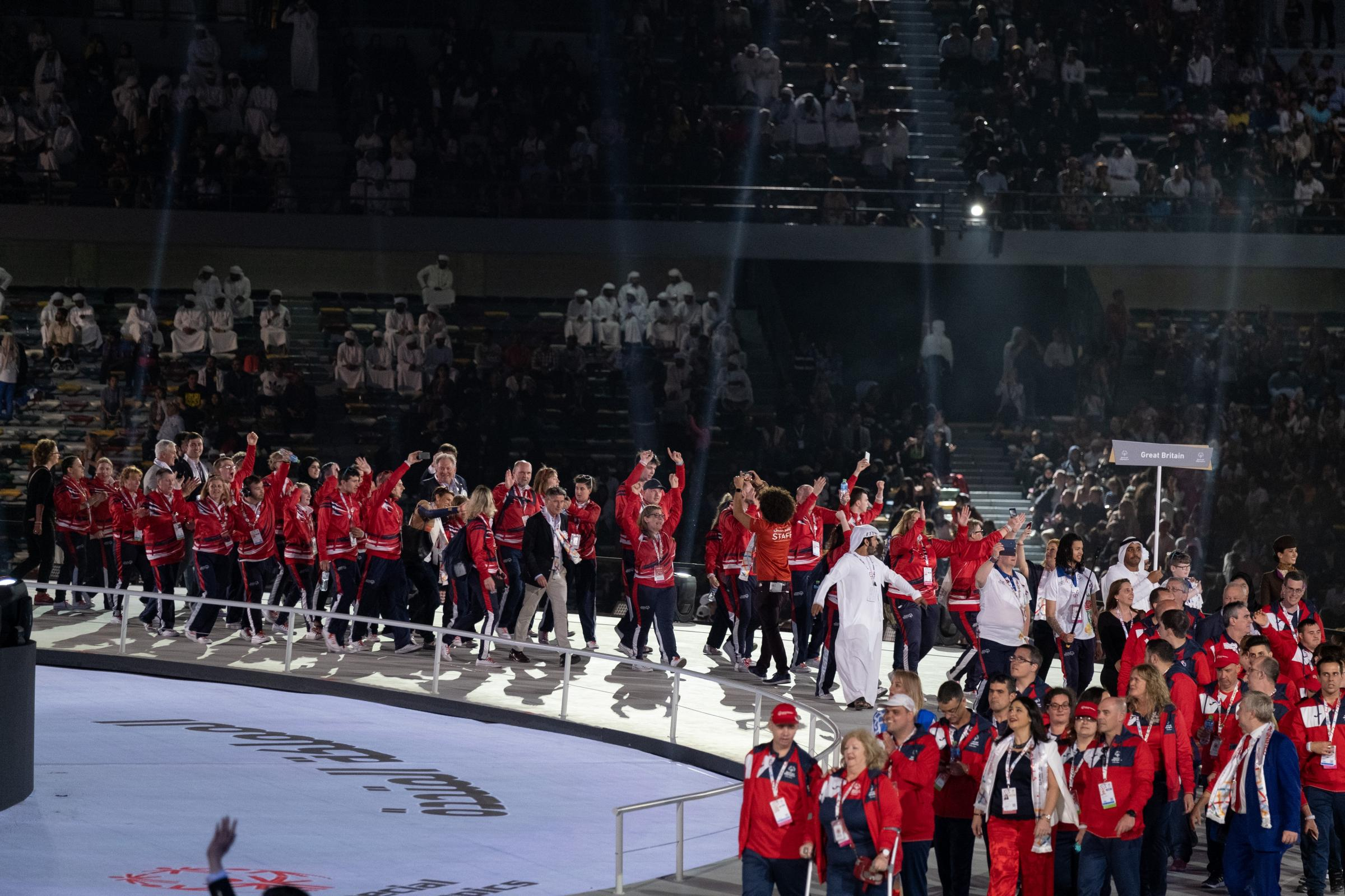 The Special Olympics Great Britain team arrive at the opening ceremony of the Special Olympics World Games