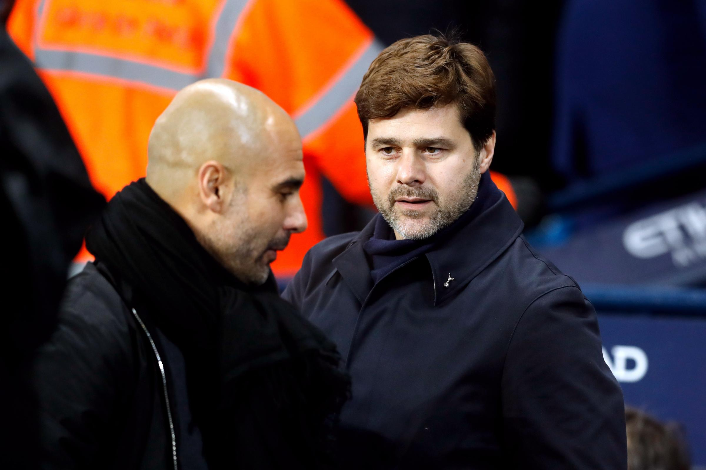 Pep Guardiola, left, and Mauricio Pochettino