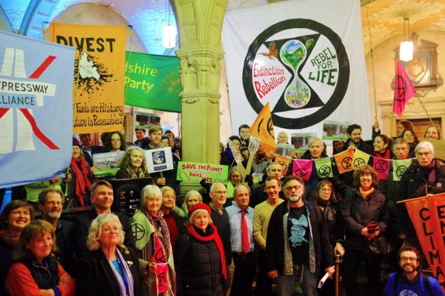 Activists after Oxford City Council voted to declare a 'Climate Emergency' in January. Picture: Mati Warwick