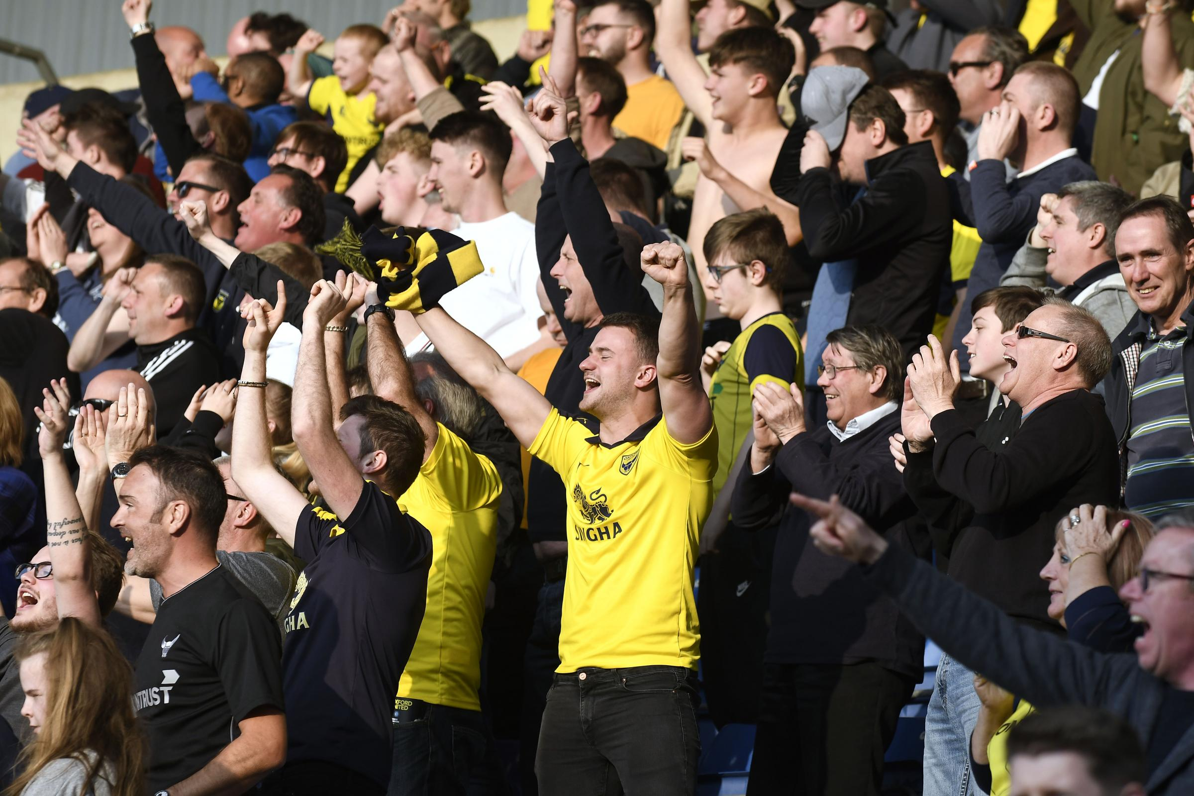 Oxford United fans celebrate the win over Wycombe Wanderers a fortnight ago Picture: David Fleming