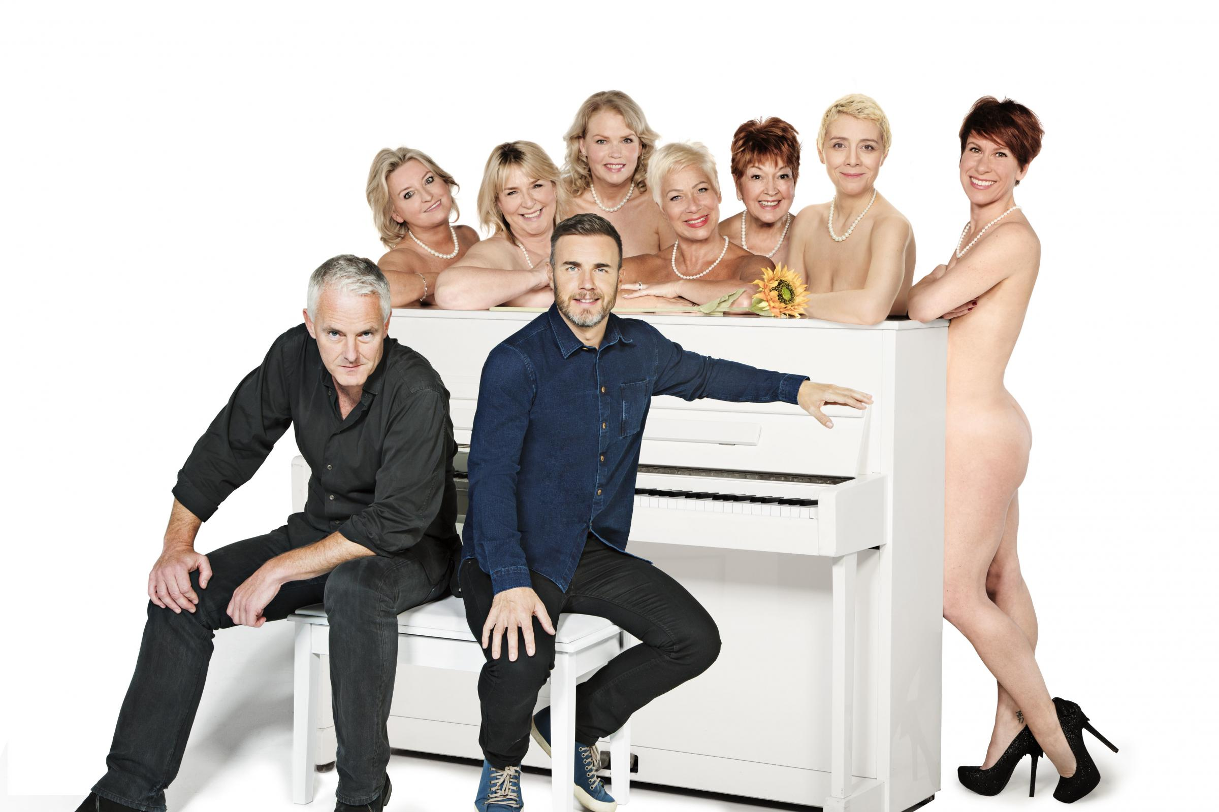 Calendar Girls-  Tim Firth, Gary Barlow, Back Rebecca Storm, Fern Britton, Sara Crowe, Denise Welch, Ruth Madoc, Karen Dunbar, Anna-Jane Casey