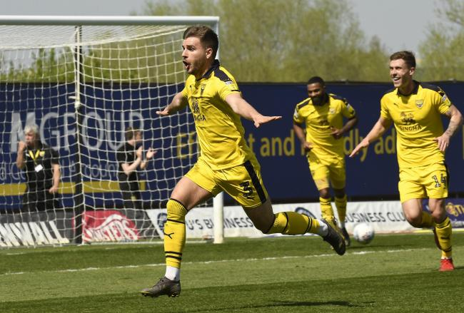 Luke Garbutt celebrates after scoring a spectacular free-kick for Oxford United against Charlton last season Picture: David Fleming