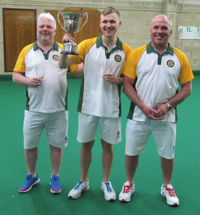 Triples champions, from left, Carterton's Paul Sharman, Bradley Squires and Kevin Alder