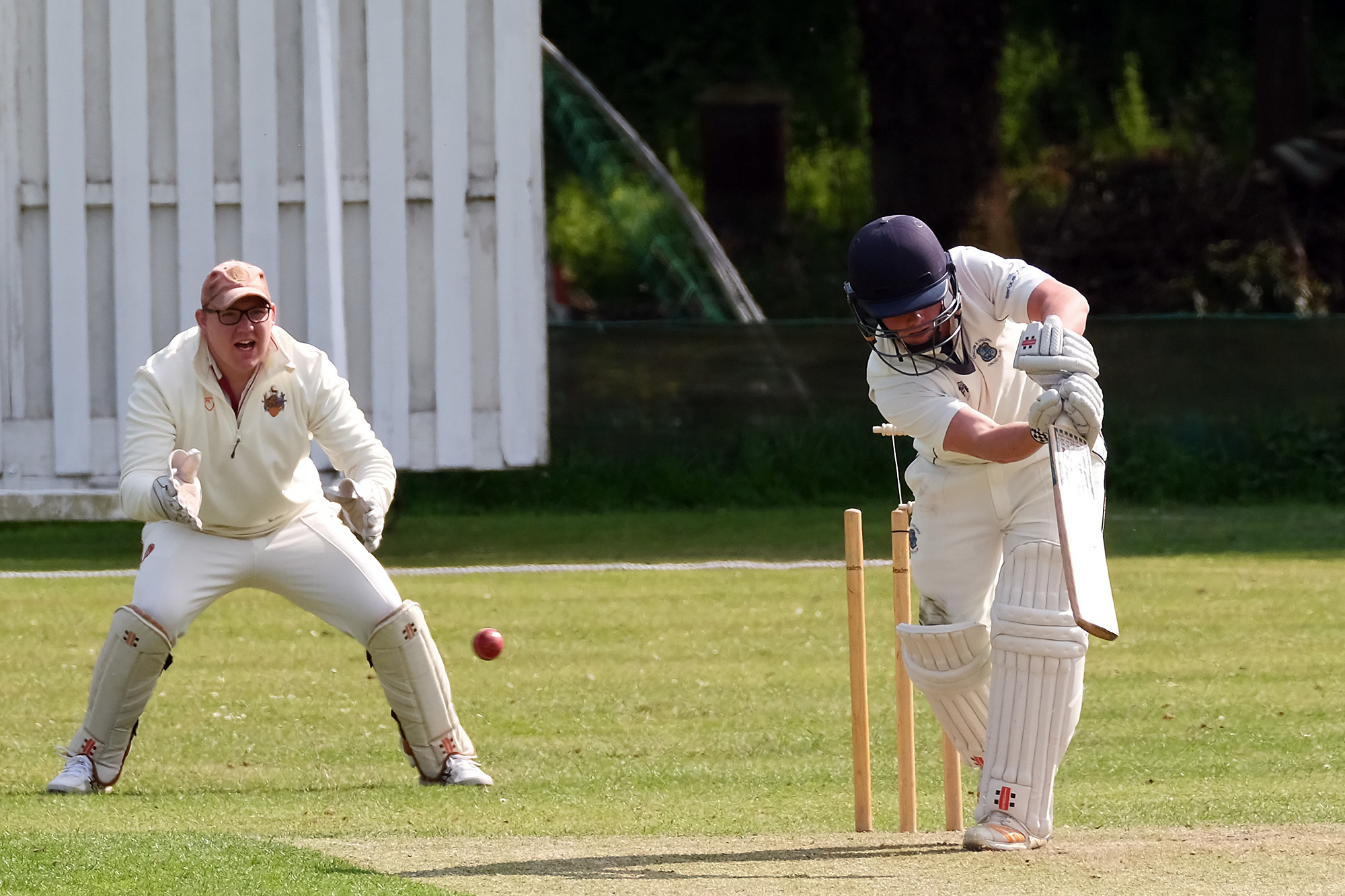 Freddie Robson is bowled by Leigh Smith during Minster Lovell's victory over Challow & Childrey in Division 2 Picture: Ric Mellis
