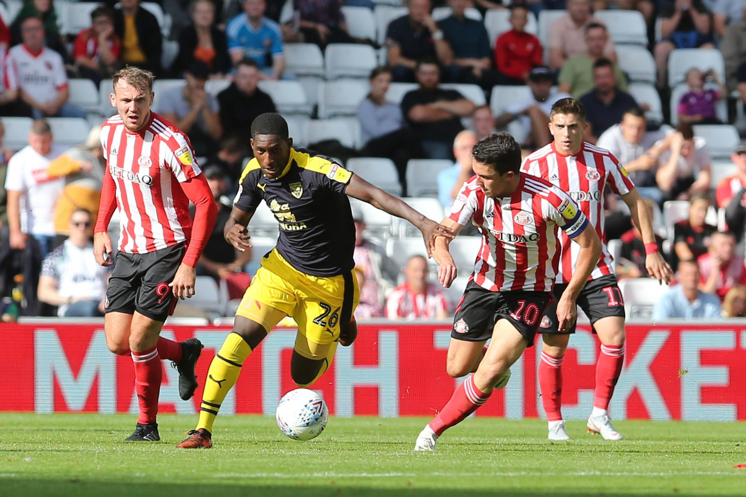 Shandon Baptiste on the attack for Oxford United at Sunderland – part of the midfielder's dazzling start to the campaign. He could be back playing again by September 	Picture: Richard Parkes