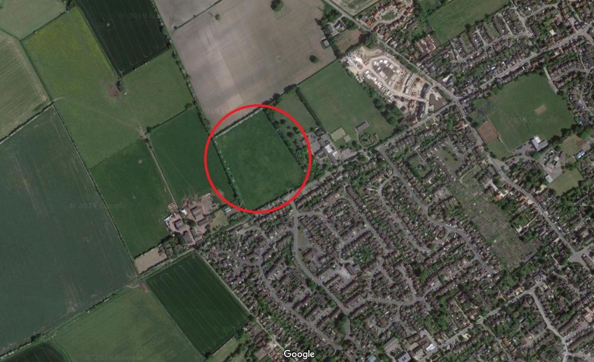 Mill Lane, Chinnor with development site marked with a circle. Picture: Google