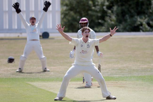 Horspath's Will Robertson successfully appeals for lbw against Shazad Rana last season – one of his six Banbury victims during their draw eight months ago