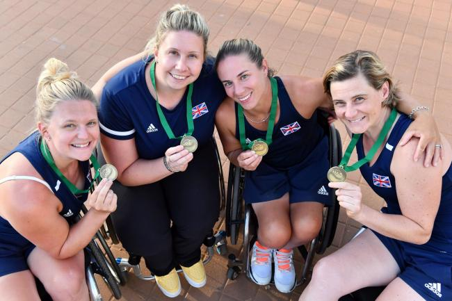 Jordanne Whiley (left) shows off her bronze medal with her Great Britain teammates in Israel Picture: LTA
