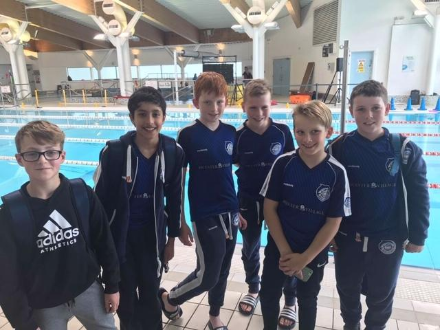 Bicester Blue Fins members at Thame (from left) William Rotherham, Rayan Guesmi, Harry Snelgrove, Maddox Moore, Ollie Snelgrove and Ethan Osborne