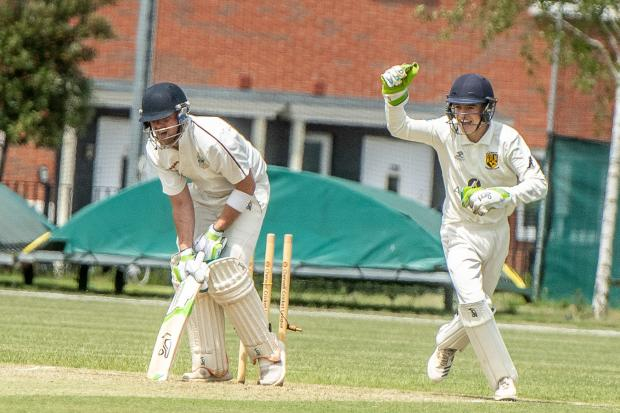 Didcot's Richard Cook is bowled by Cumnor's Sam Herbert during their Division 1 game Picture: Richard Cave