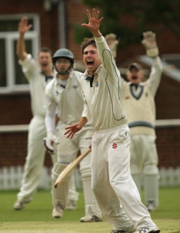 Challow's Ben Jones appeals successfully for lbw against Tiddington's Riaan Krynauw in their Division 2 clash