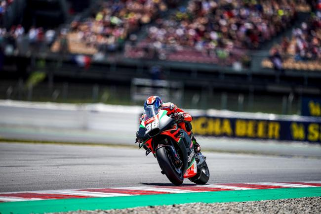 Bradley Smith in action in Barcelona Picture: Aprilia Racing